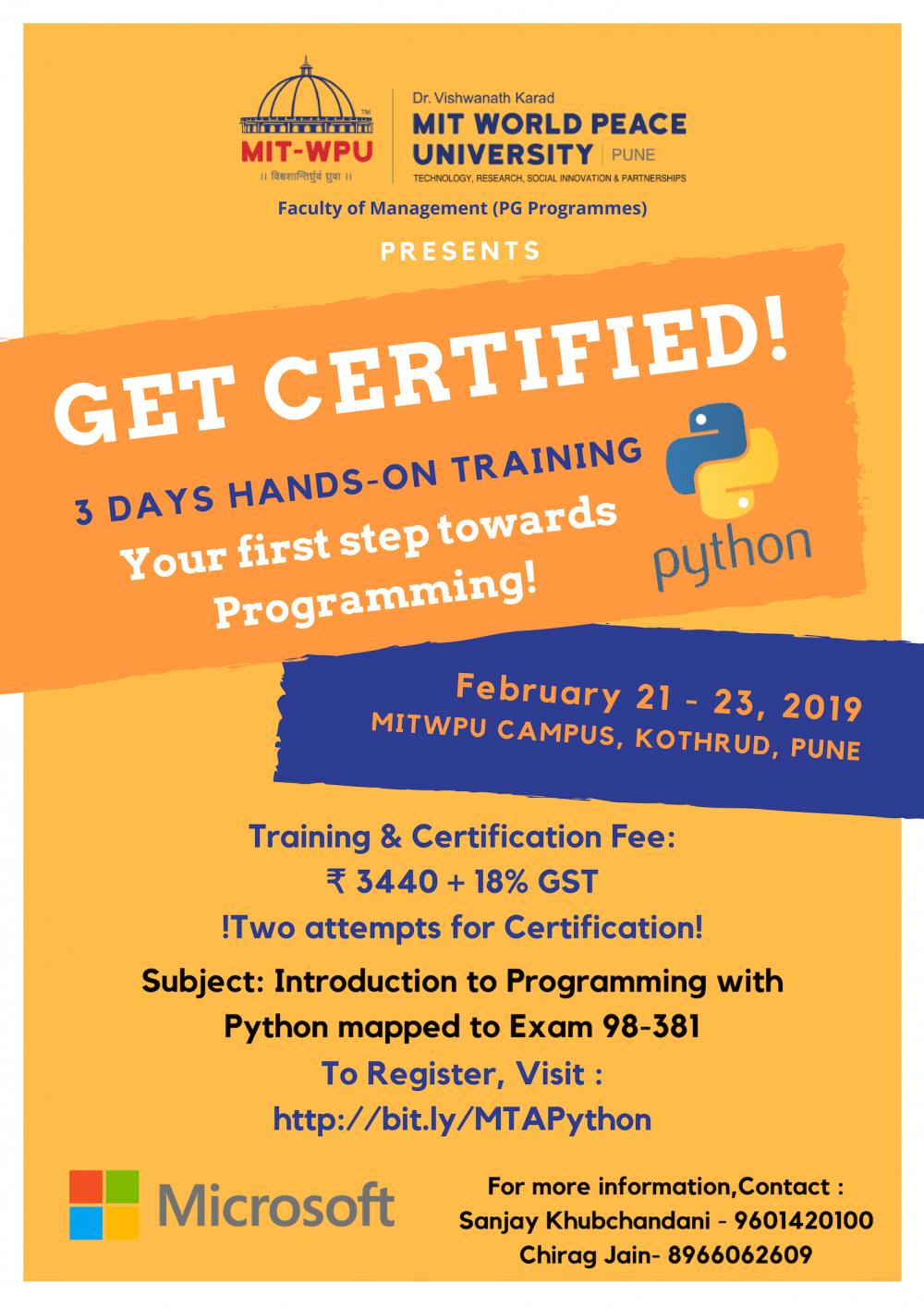 Microsoft Technology Associate Python Training And Certification
