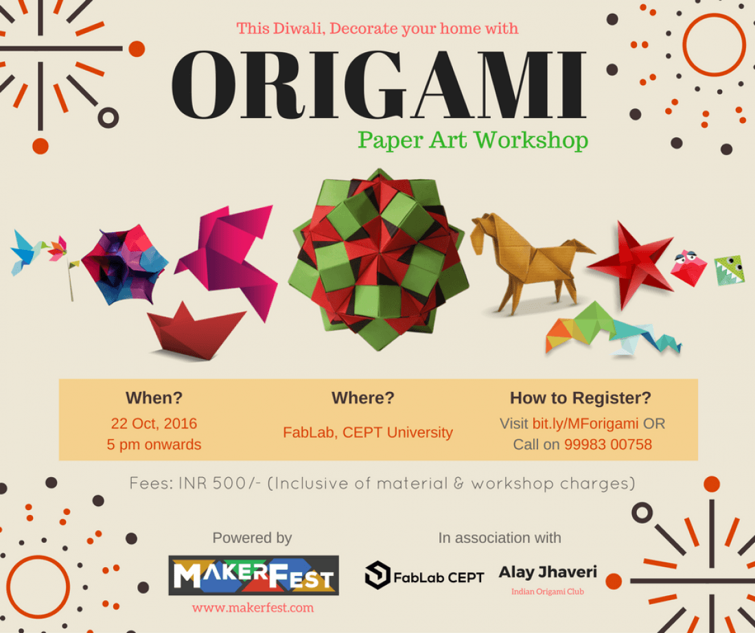 origami paper art workshop at fablab cept ahmedabad