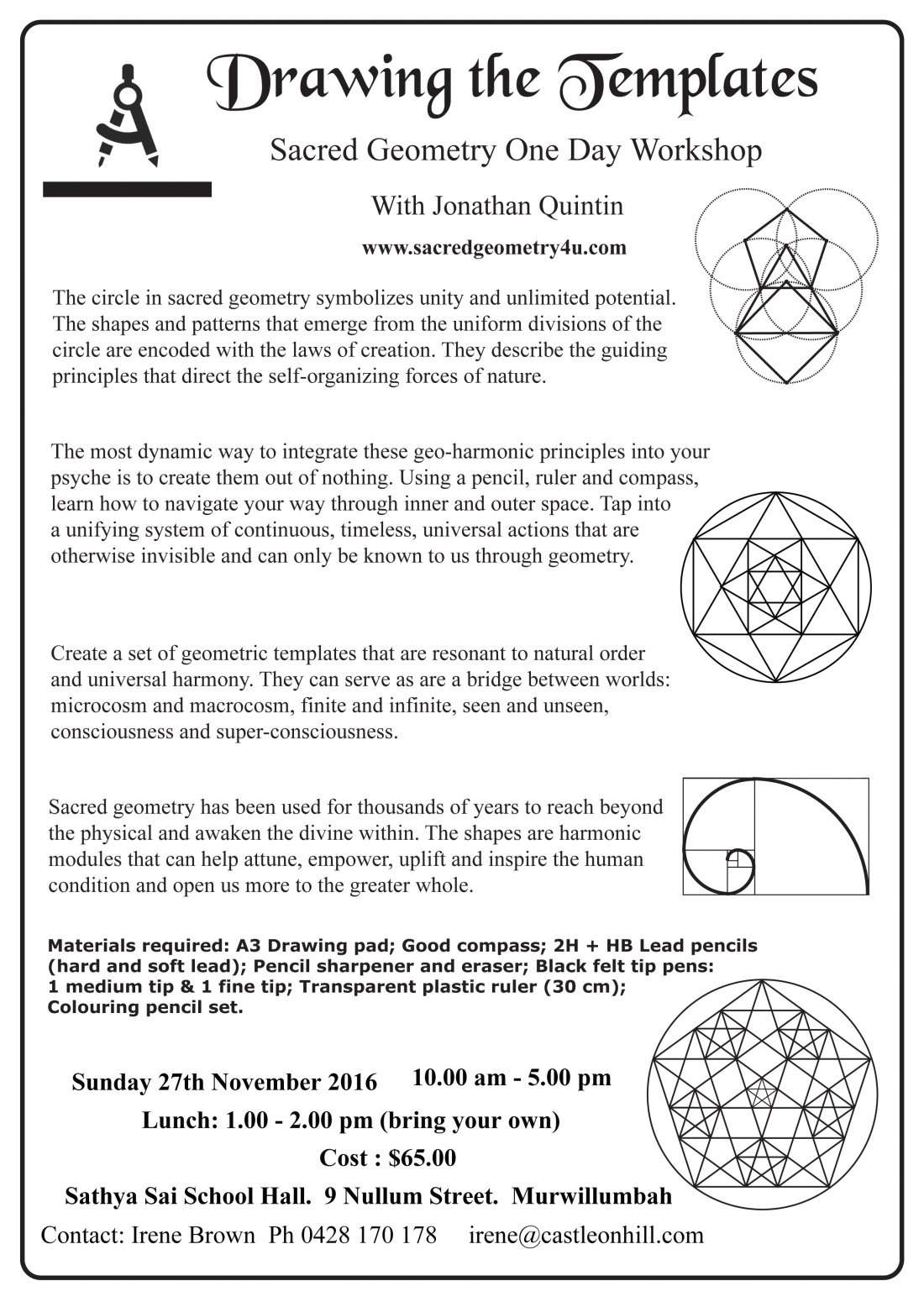 Drawing The Template Sacred Geometry Workshop With Jonathan Quintin
