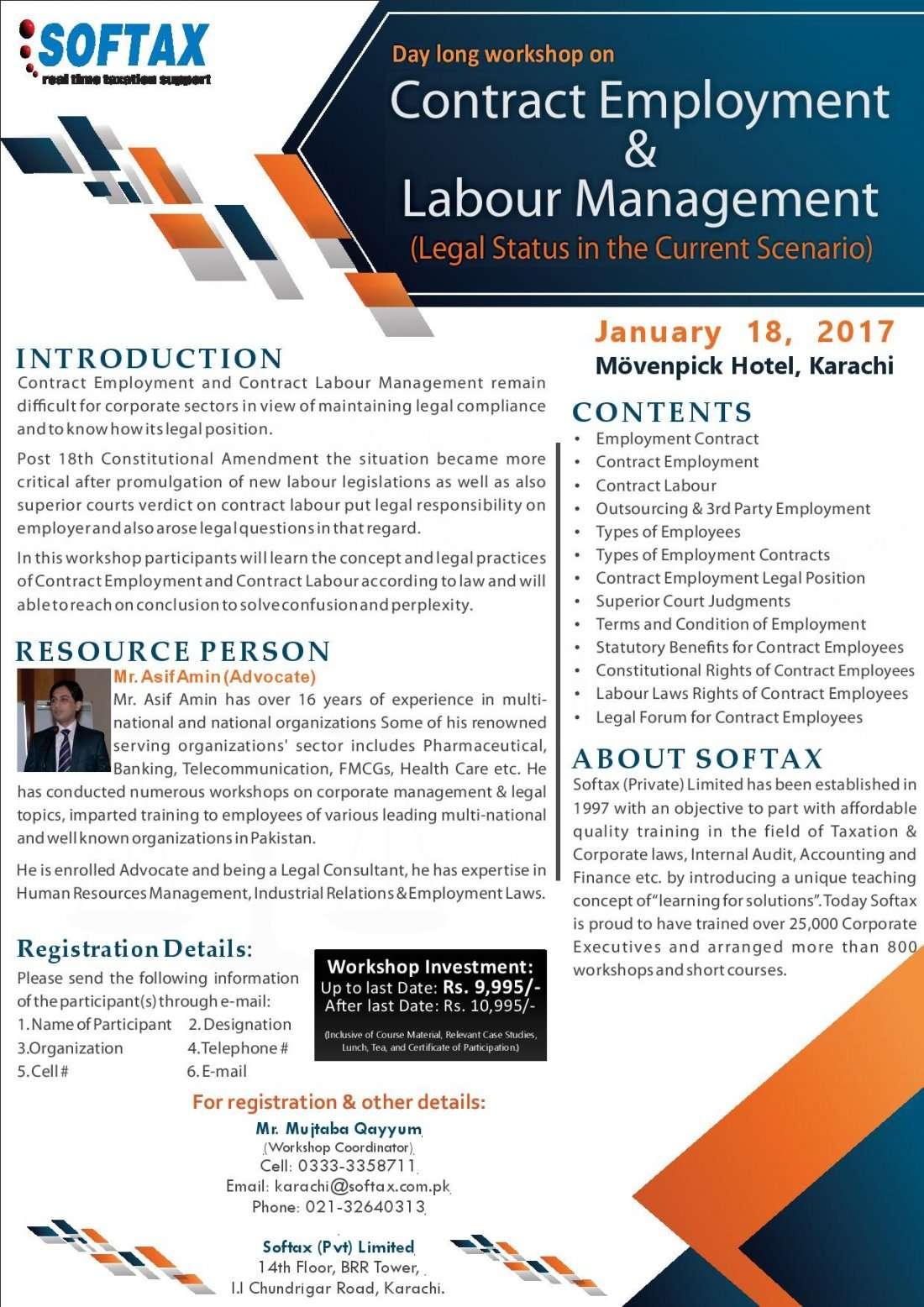 Workshop on Contract Employment & Labour Management.