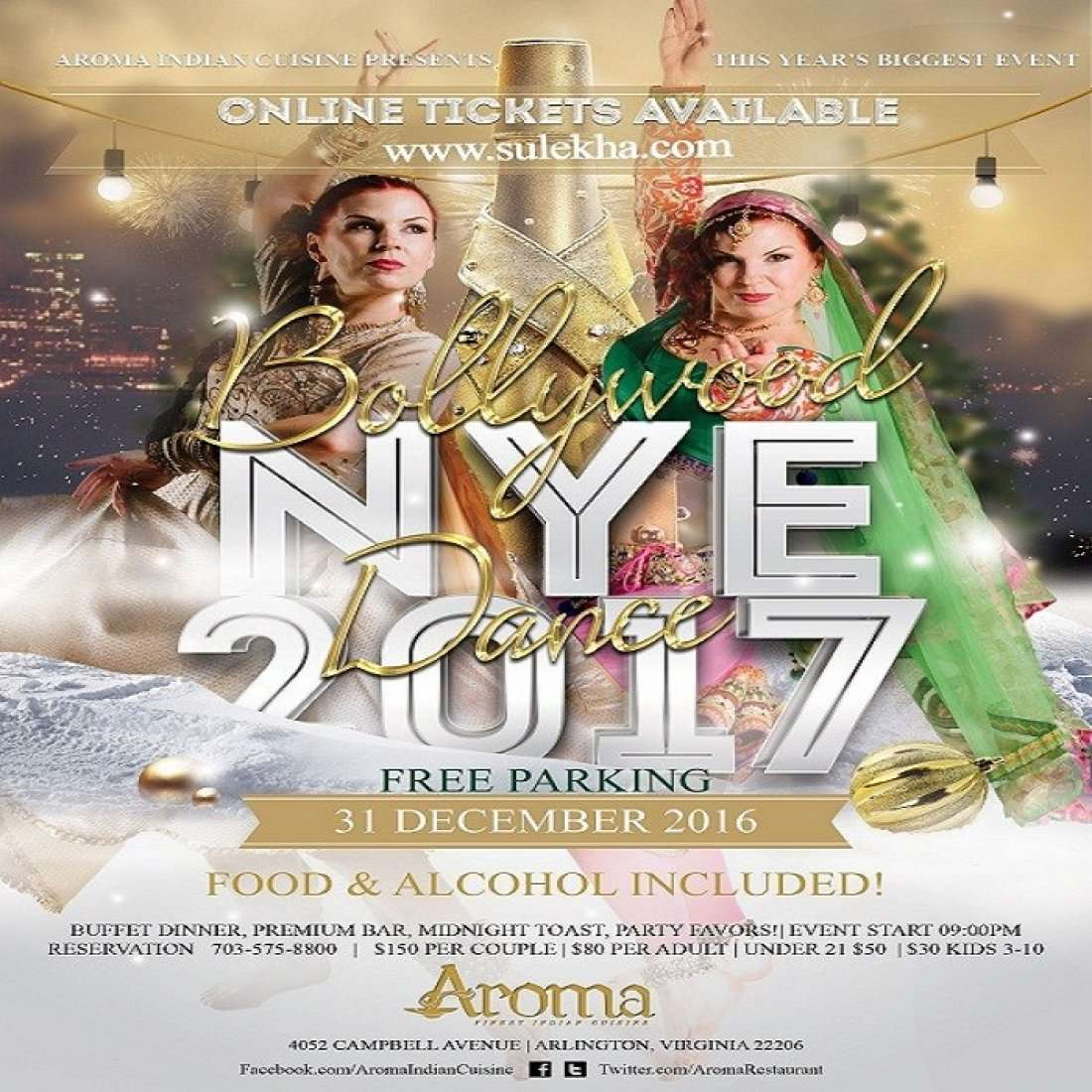 New year eve 2017 at aroma indian cuisine arlington for Aroma indian cuisine arlington va