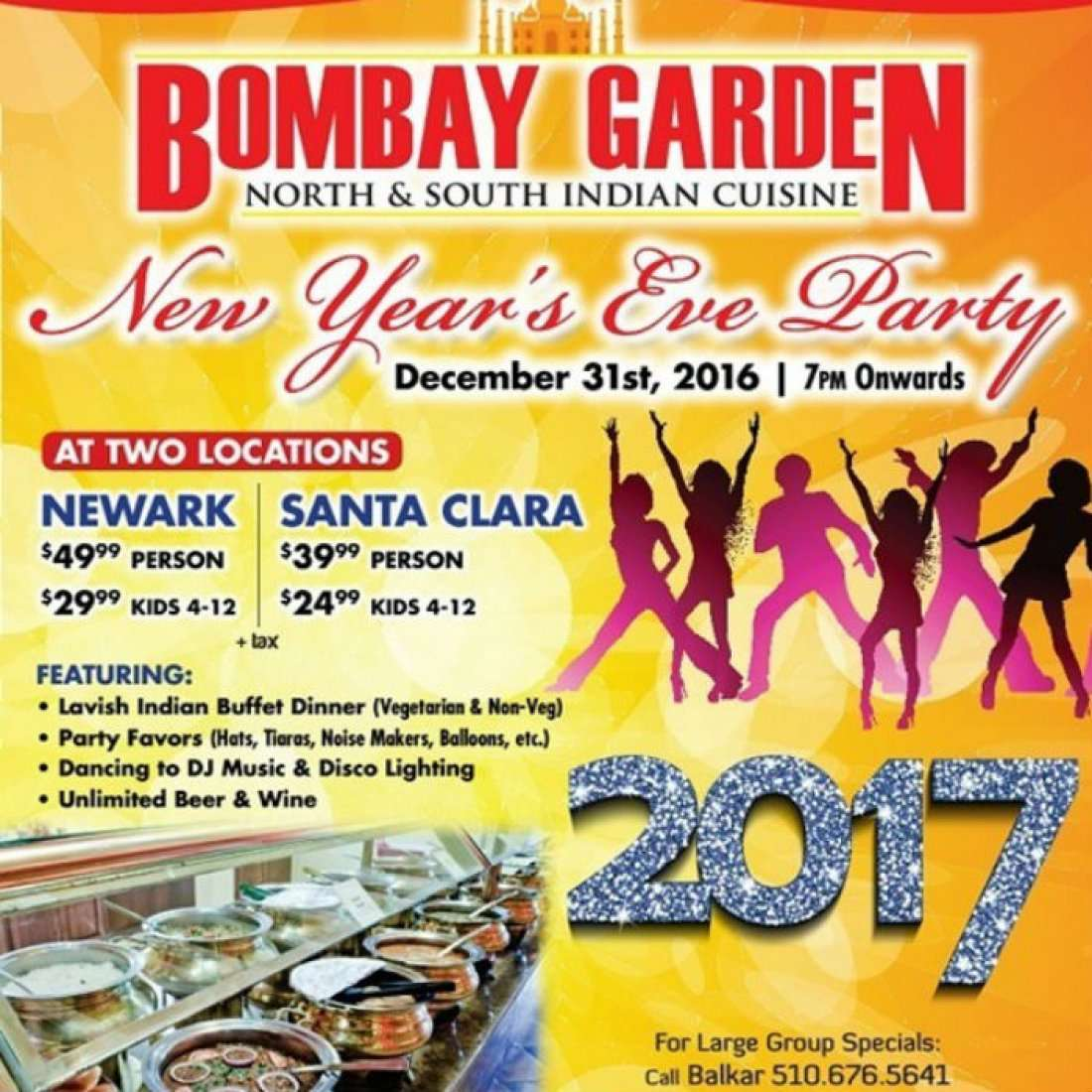 Bombay Garden New Year S Eve Party Santa Clara 2017