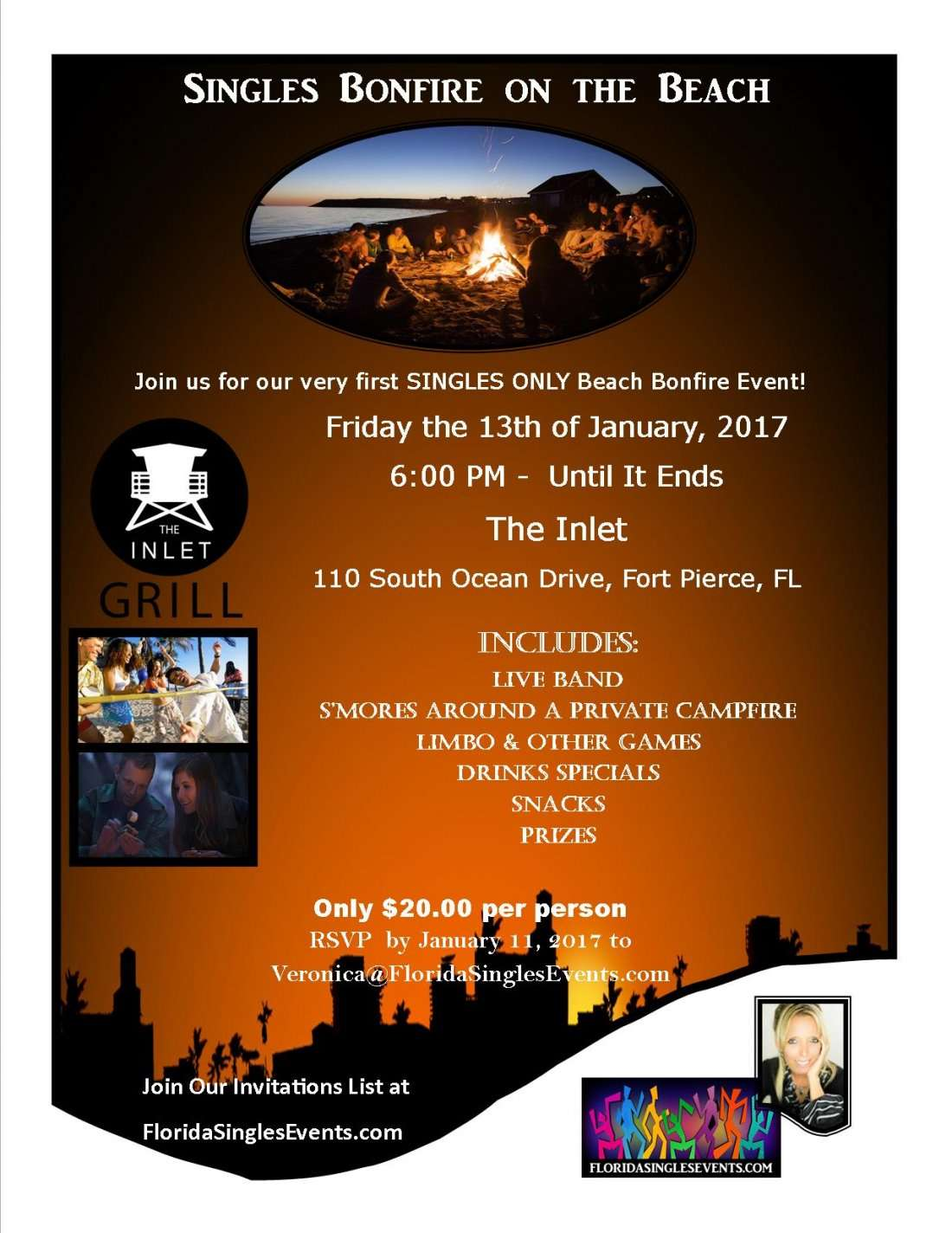 Singles Bonfire on the Beach at The Inlet Fort Pierce