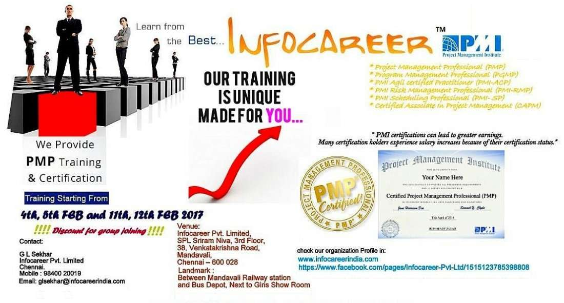 Pmi Certification Training Program For Professionals At Infocareer