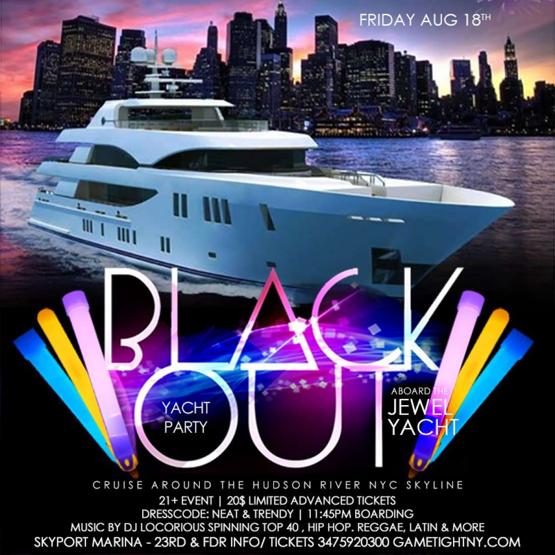 Jewel Yacht NYC Black Out Party at Skyport Marina 2017 at New York ...