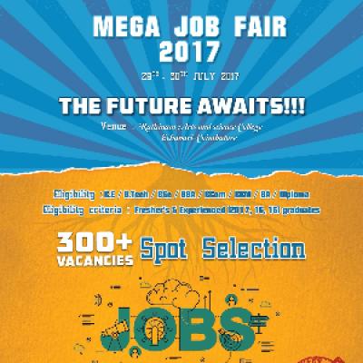 Mega Job Fair - 2017  B.EB.TechBScBBABComBBMBADiploma  29th &amp 30th July 2017  Coimbatore