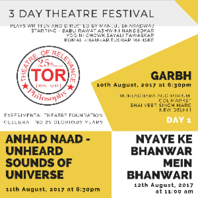 Celebrating 25years of Theatre Of Relevance  - 3 day Theatre Festival in New Delhi