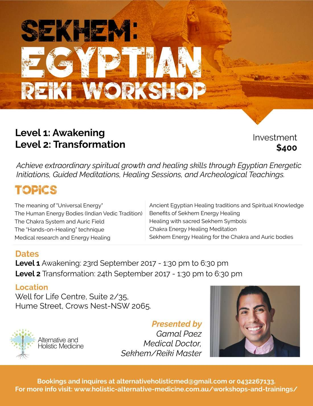 Sekhem Workshop: Egyptian Reiki & Energy Healing at Well ...