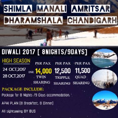 Shimla-Kullu-Manali-Dharamshala-Amritsar-Chandigarh