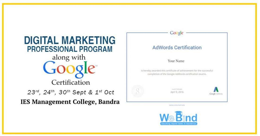 4 Day Digital Marketing Workshop With Google Certification At Ies
