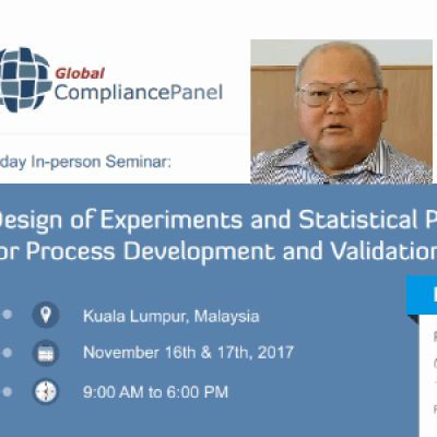 Design of Experiments and Statistical Process Control for Process Development and Validation 2017