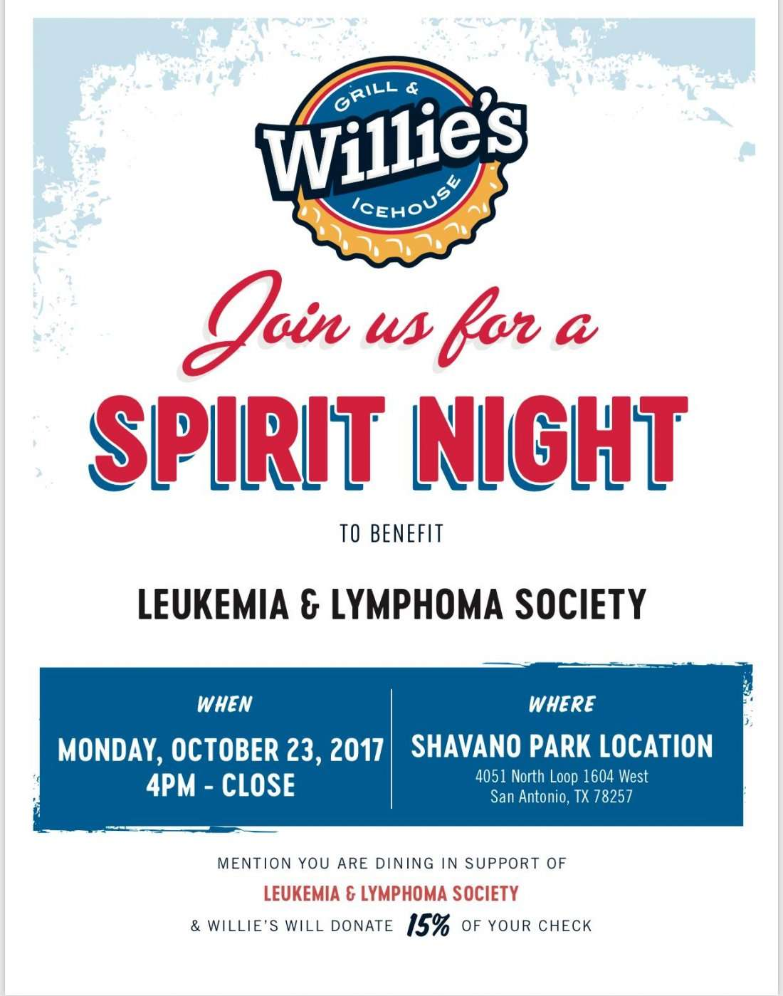 Spirit Night at Willies Grill & Ice House Fundraiser