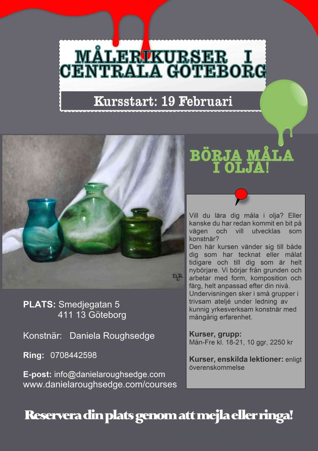 Mlerikurser i centrala Gteborg  Oil painting classes
