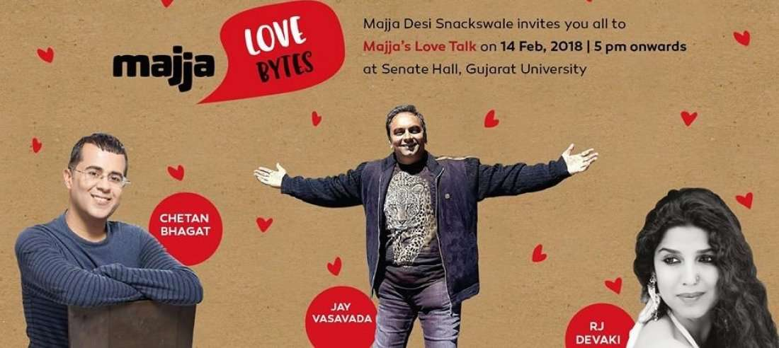 Best Talk show in Ahmedabad by Chetan Bhagat Jay Vasavada and RJ Devaki on love .