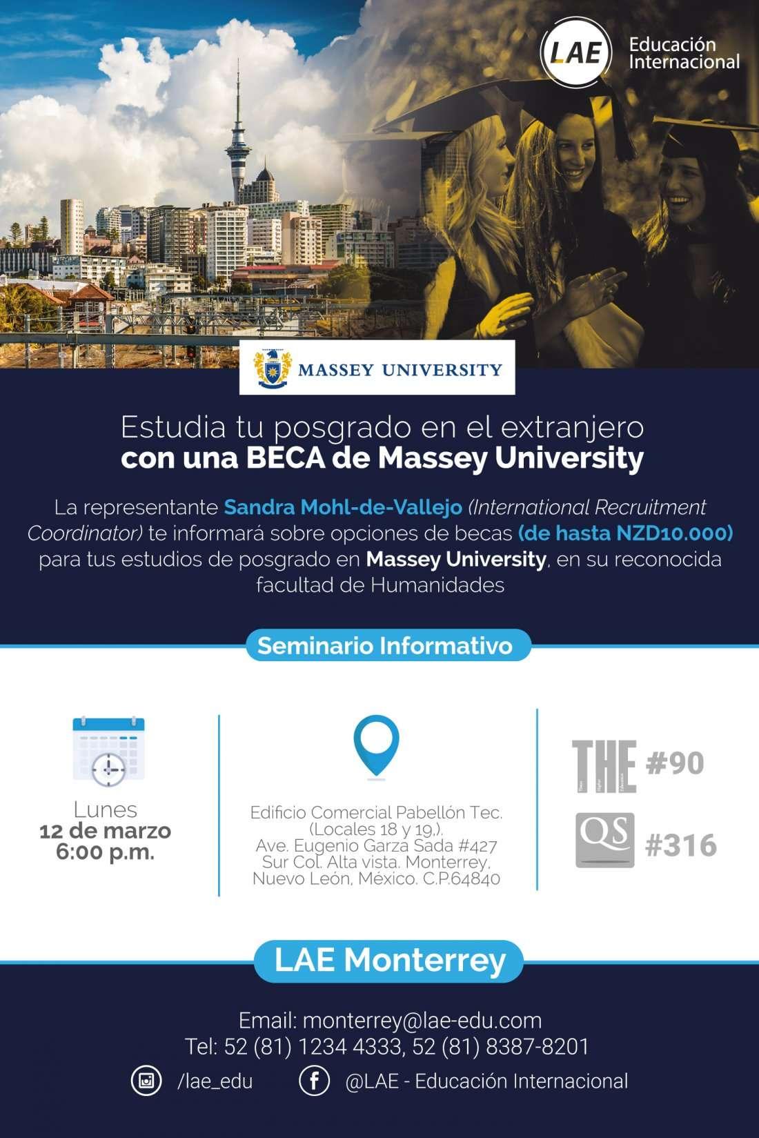 Seminario Informativo Massey University (Nueva Zelanda) - Posgrado y Pregrado