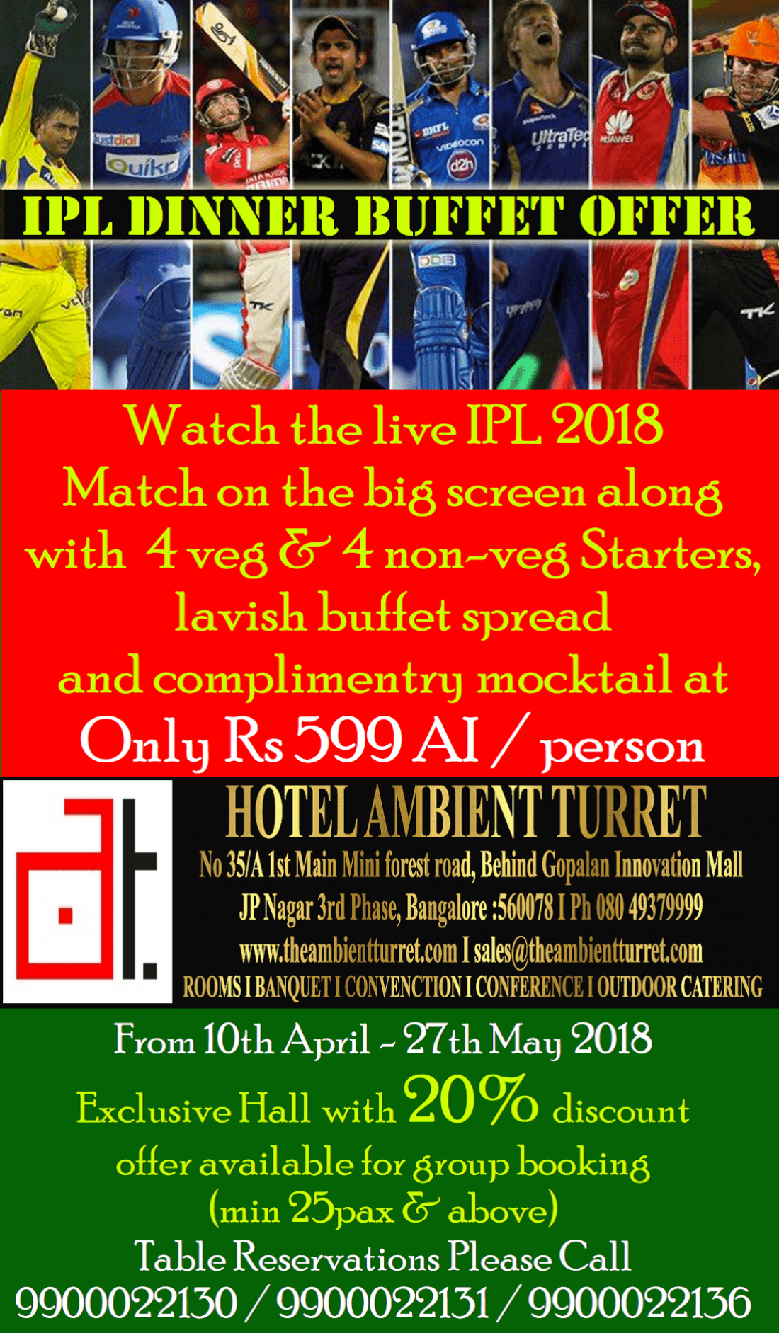 IPL Dinner Buffet Offer at Hotel Ambient Turret