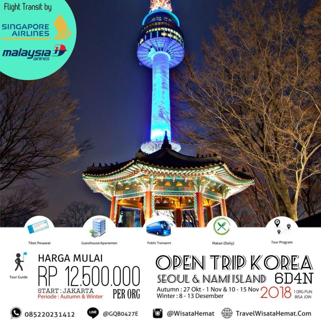 OPEN TRIP KOREA (SEOUL & NAMI ISLAND) 27 OKT-1 NOV 2018