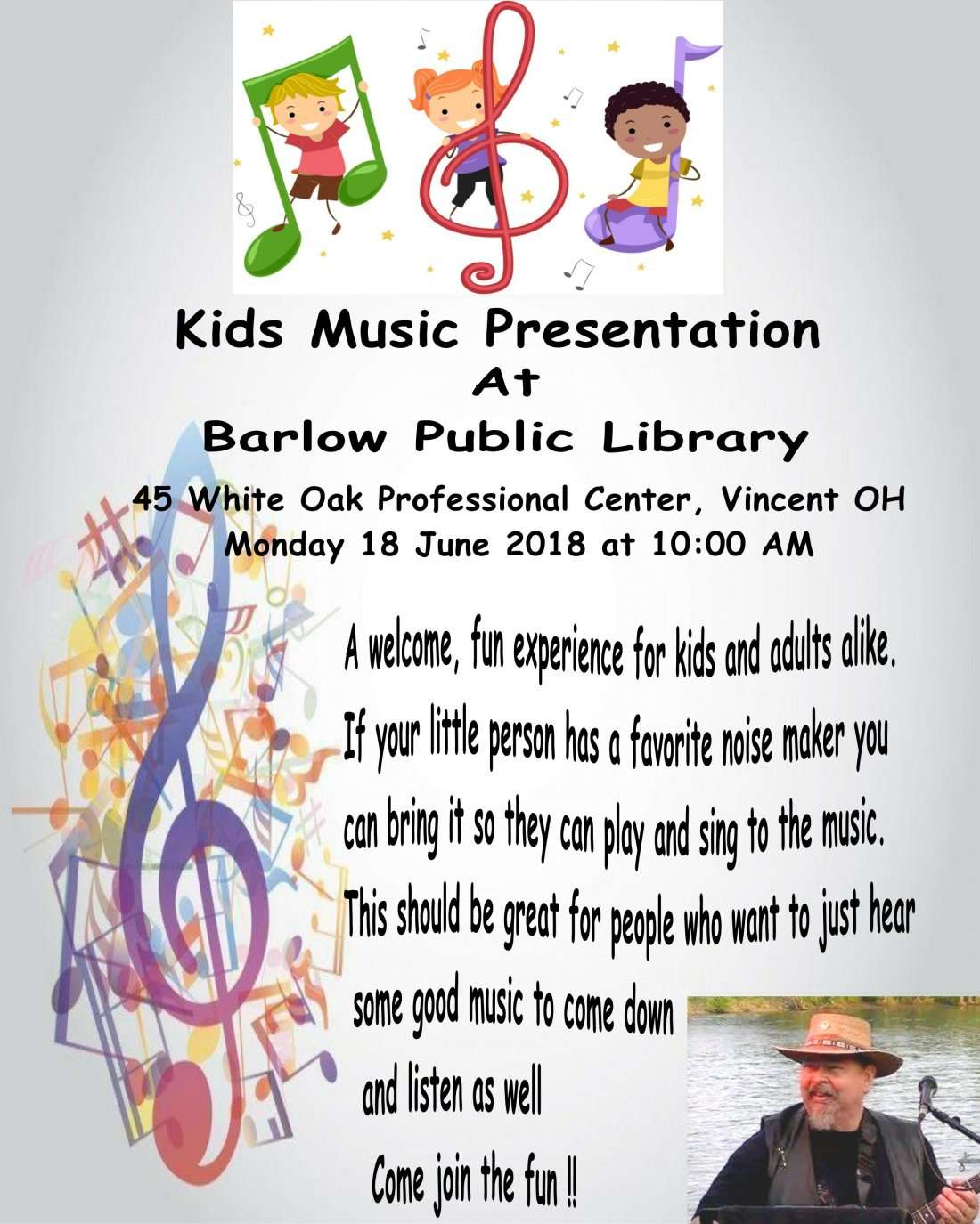 Tom Roddey Kids show at Barlow Library