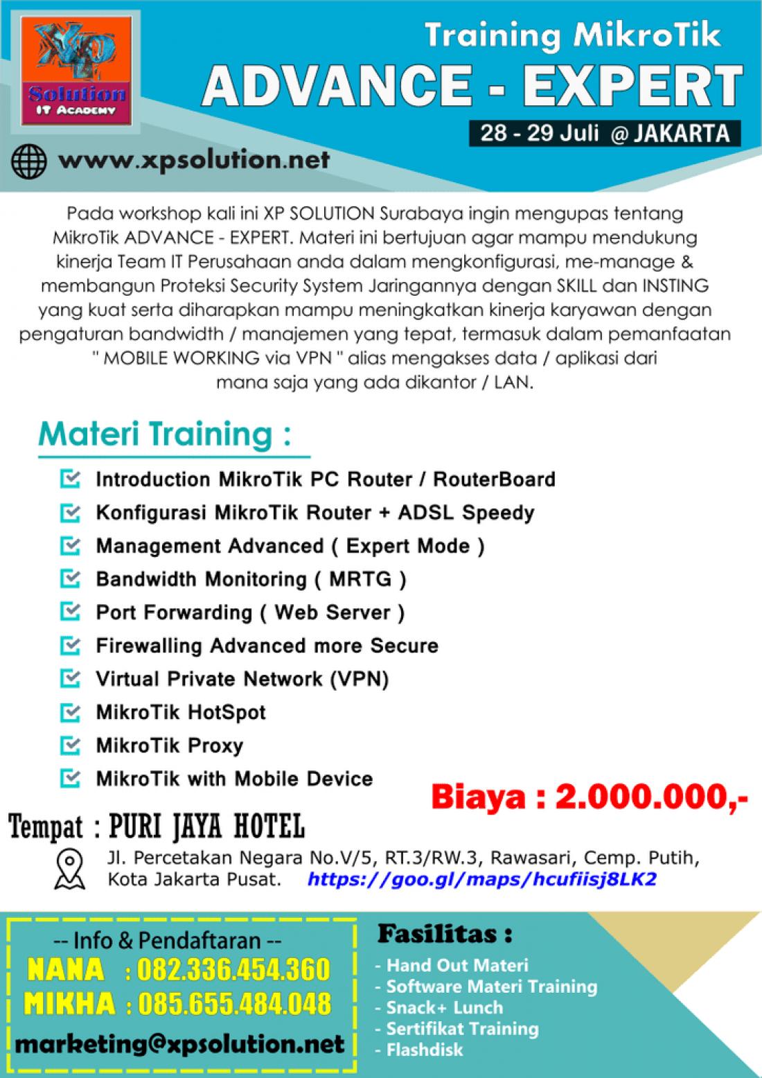 Training MikroTik Advance-Expert 28-29 Juli 2018 di Jakarta
