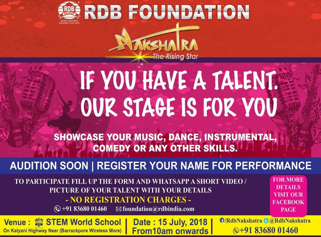 RDB nakshatra the rising star Grand Audition at STEM World