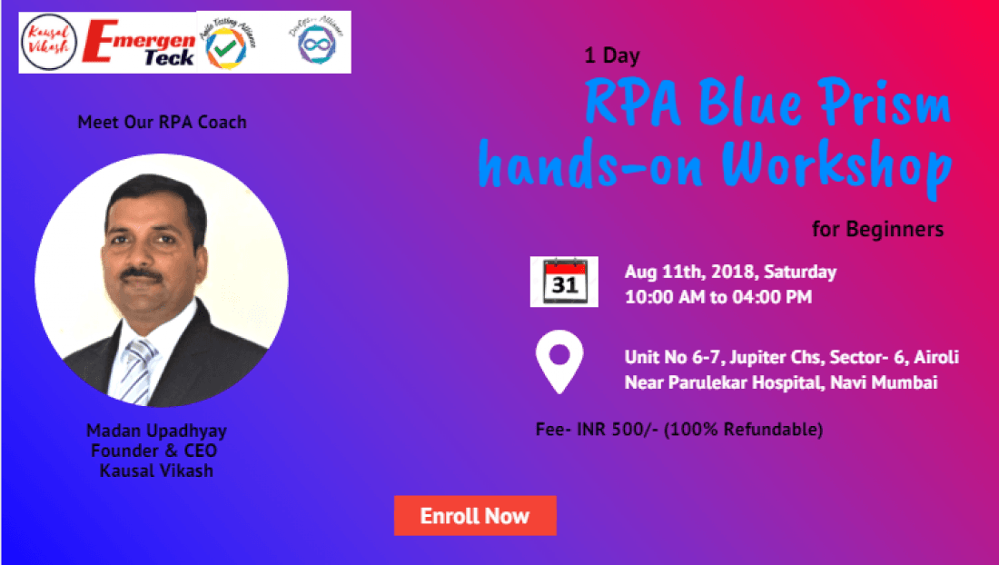 RPA Blue Prism Hands-on Workshop for Beginners  Mumbai  11 Aug  10 AM - 4 PM
