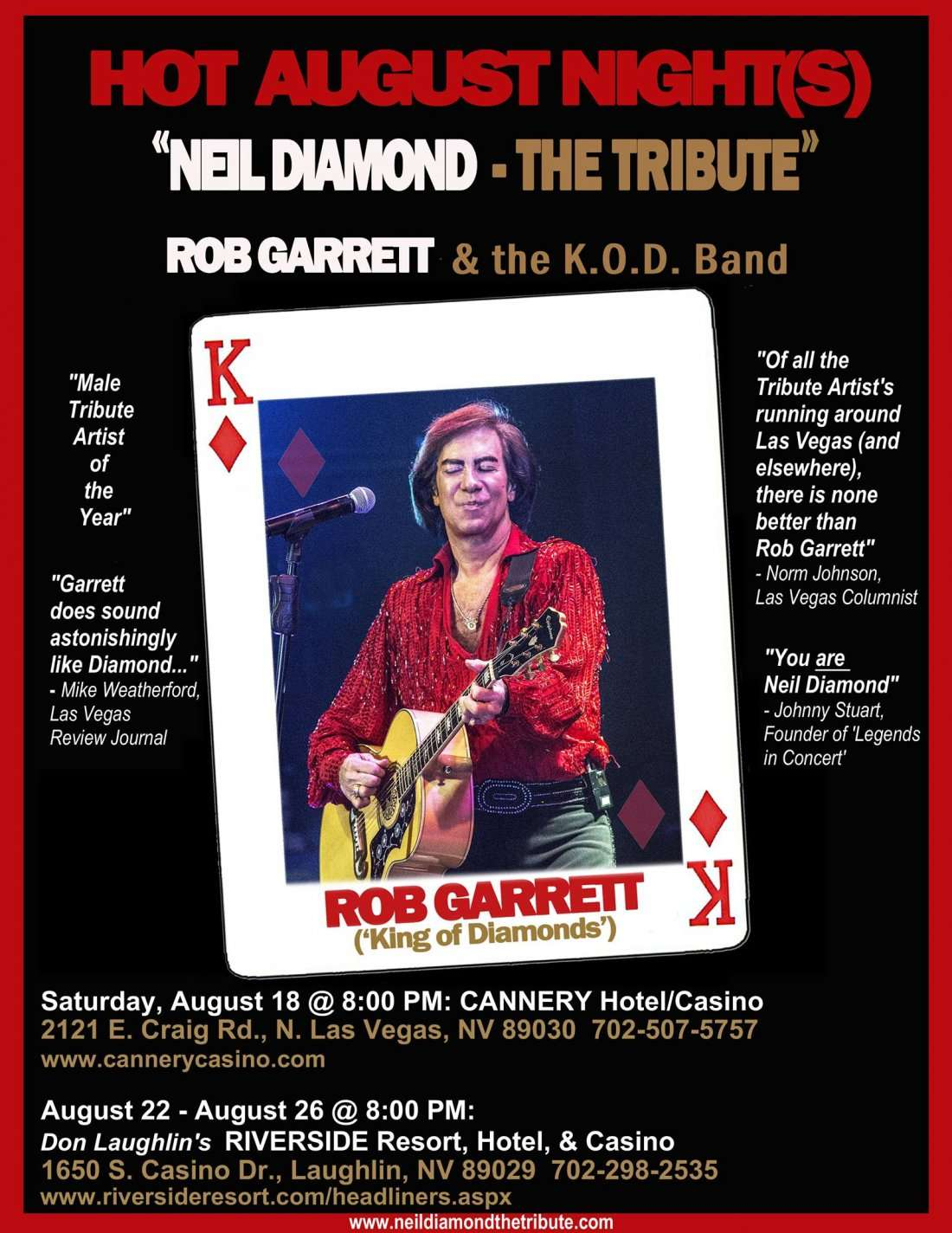 HOT AUGUST NIGHT (NEIL DIAMOND - THE TRIBUTE) starring ROB GARRETT & the K.O.D. Band