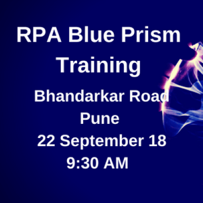 Cognitive RPA Blue Prism Masterclass Training  Weekend  Sat. 22 Sep 18  Bhandarkar Road PUNE