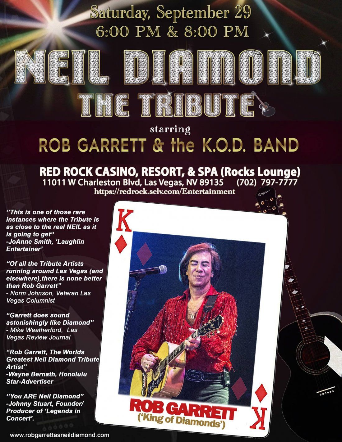 NEIL DIAMOND - THE TRIBUTE starring ROB GARRETT & the K.O.D. Band
