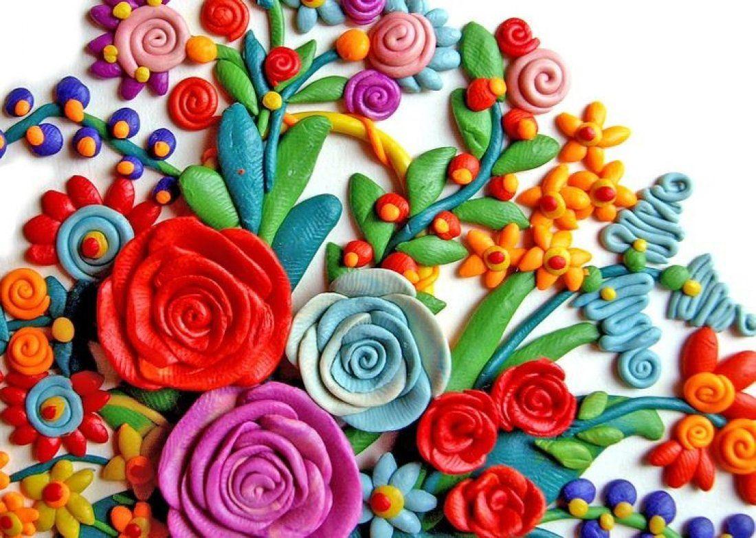 Открытка на 8 марта пластилином, днем рождения открытки