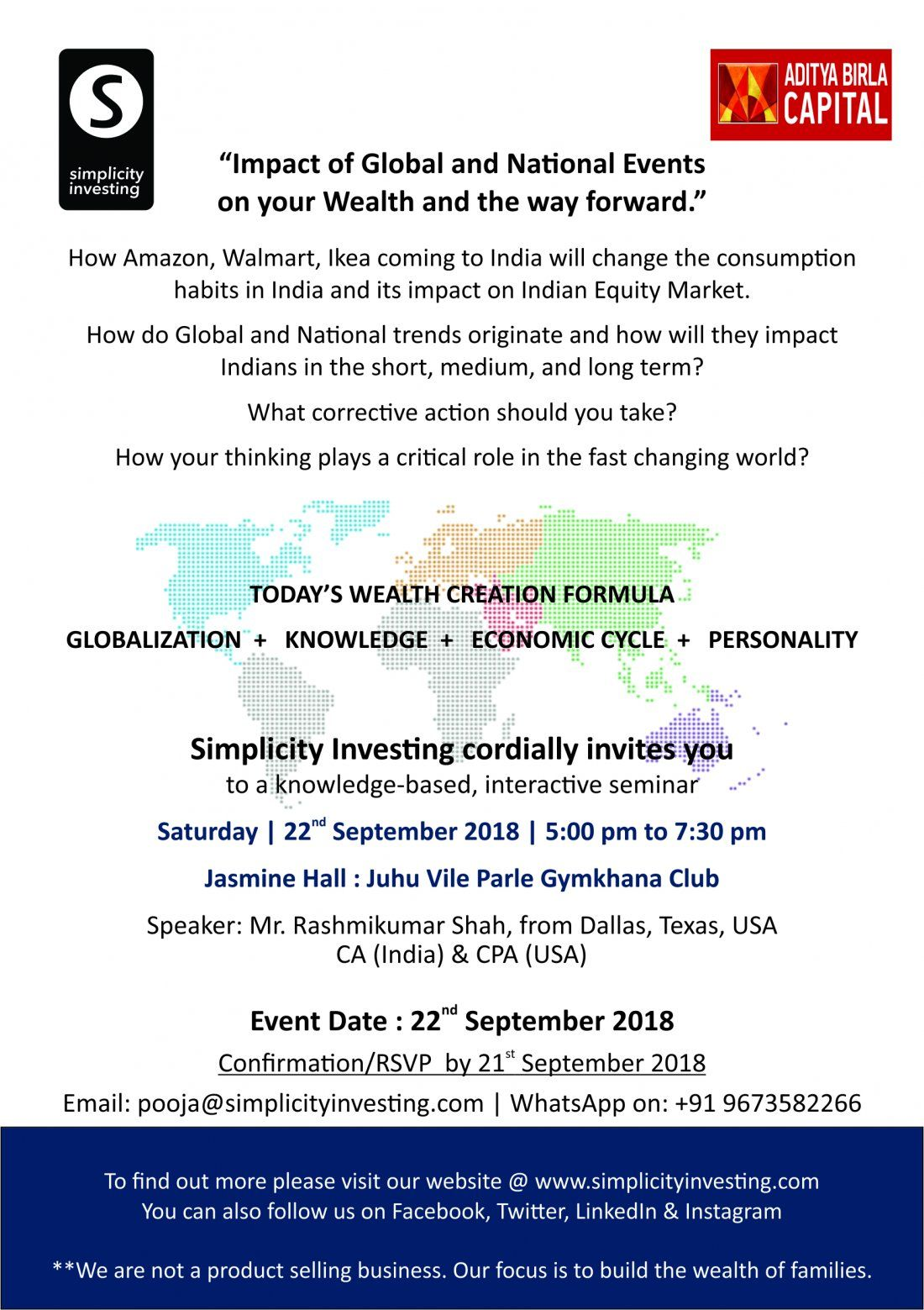 Todays Wealth Creation formula Impact of Global and National events on your Wealth.