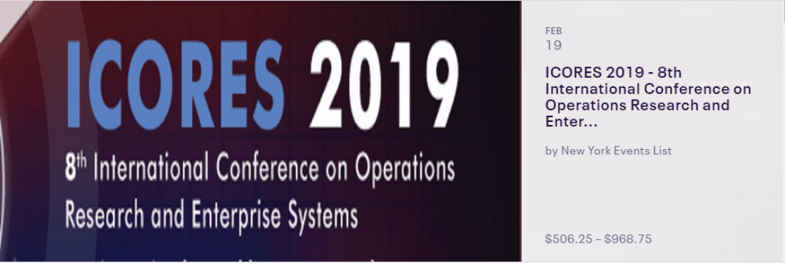 ICORES 2019 - 8th International Conference on Operations Research and Enterprise Systems
