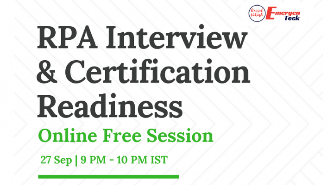 Online Rpa Interview And Certification Readiness Session 27 Sep 18