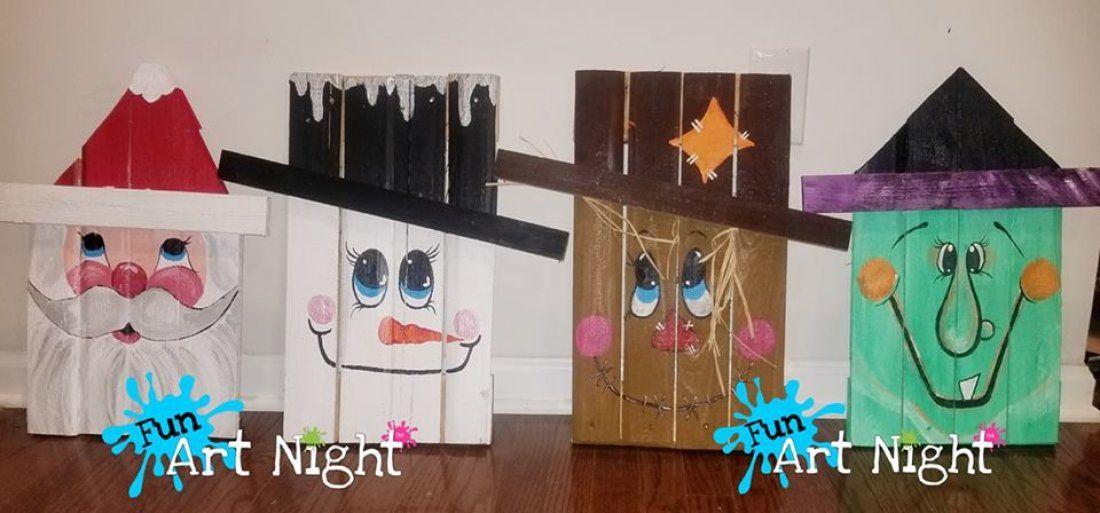 Paint Your Pallet Scarecrow Witch Santa Snowman or Grinch