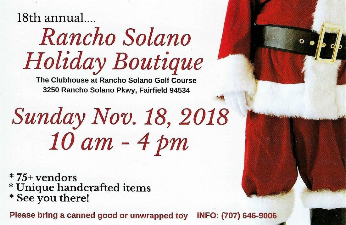 Rancho Solano HOLIDAY BOUTIQUE  18th annual 75 artists and artisans