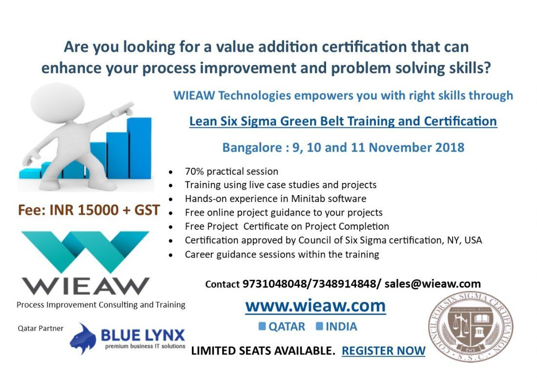 Lean Six Sigma Green Belt Training And Certification At Hsr Layout