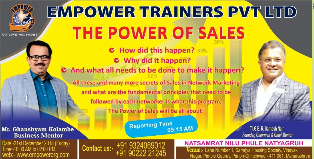 THE POWER OF SALES BY T.I.G.E.R SANTOSH NAIR AT PUNE