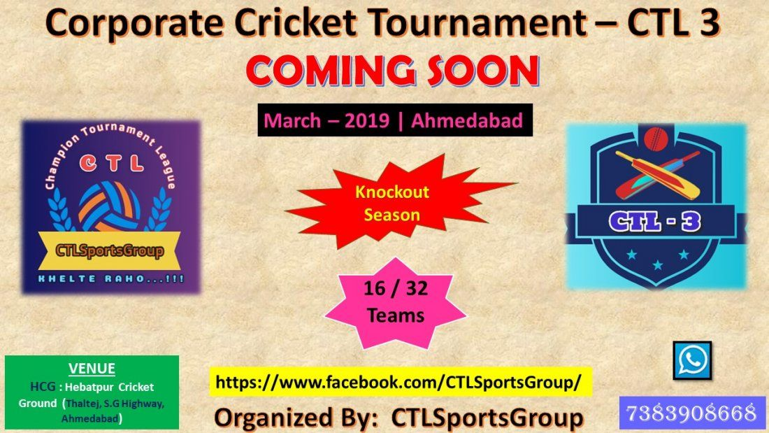 Corporate Cricket Tournament  CTL 3
