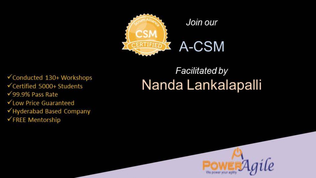 A-CSM  Training Certification  By Power Agile  in Pune on 07-08 February 2019