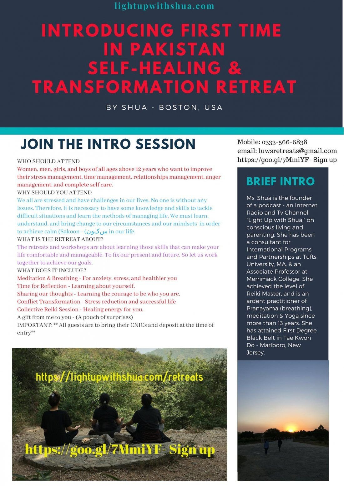 Self Healing and Transformation Retreat Intro sessions -