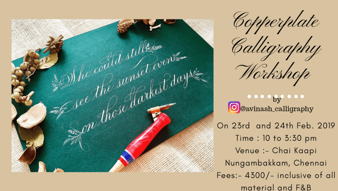 Coppeplate Calligraphy Workshop Chennai