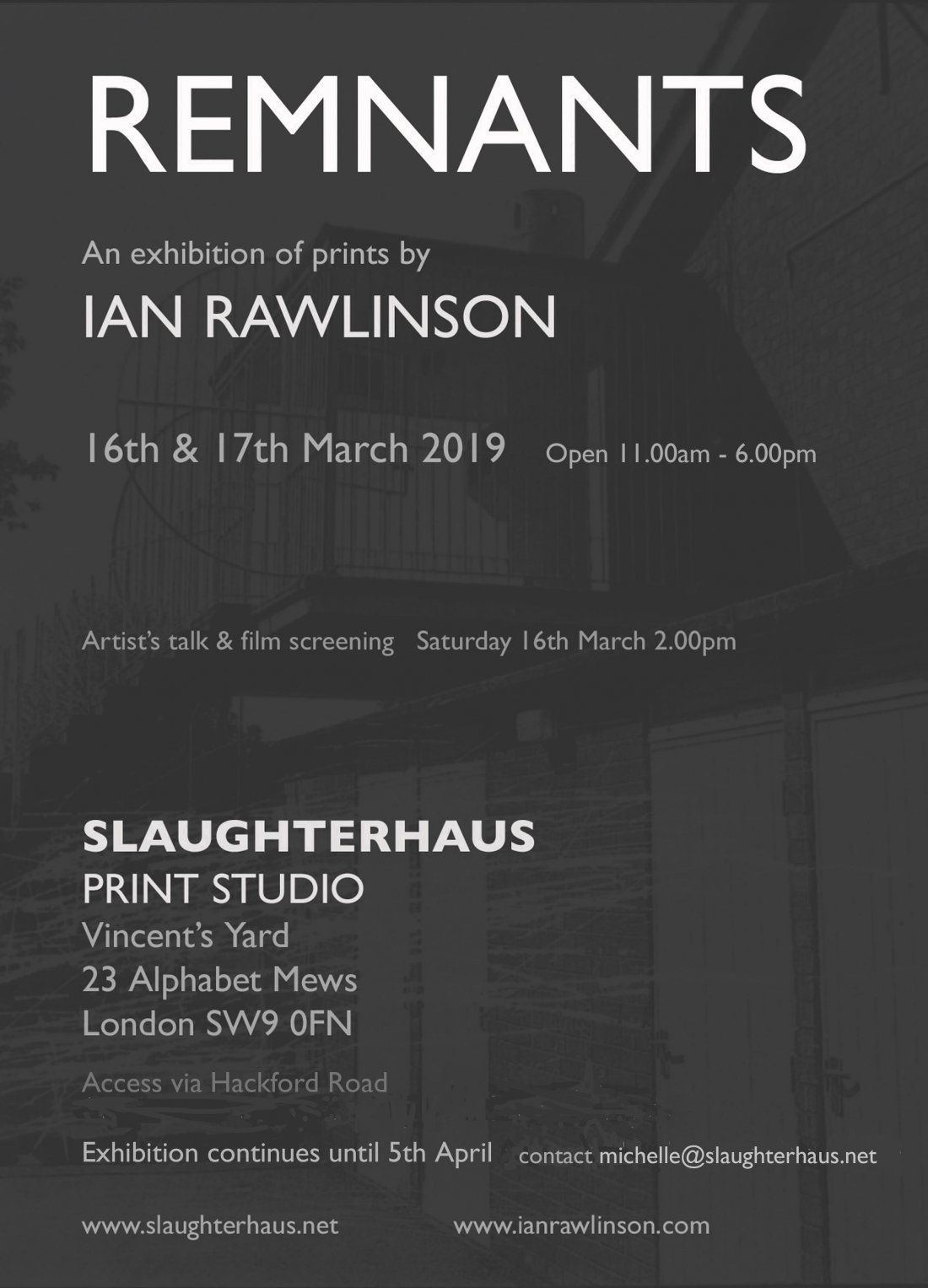 REMNANTS - an exhibition of prints by IAN RAWLINSON