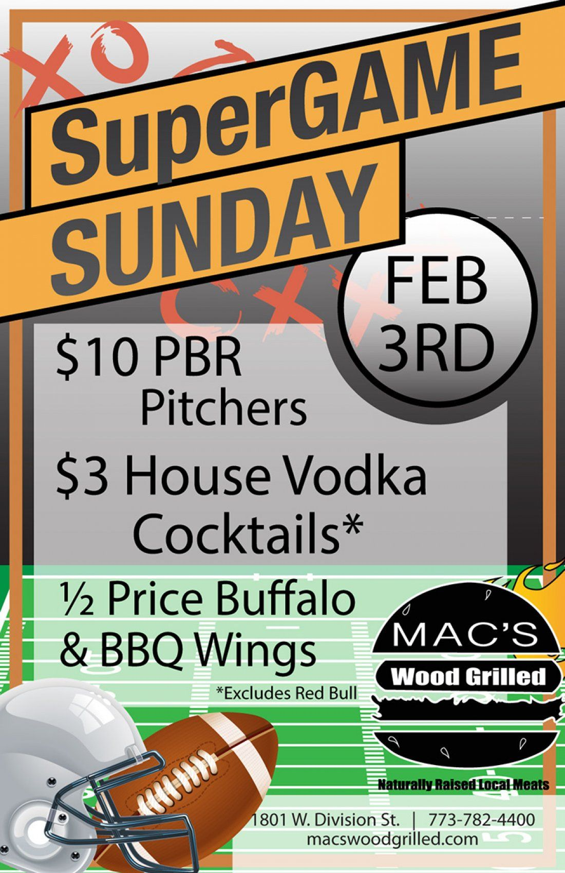 Big Game Watch Party at Macs Wood Grilled
