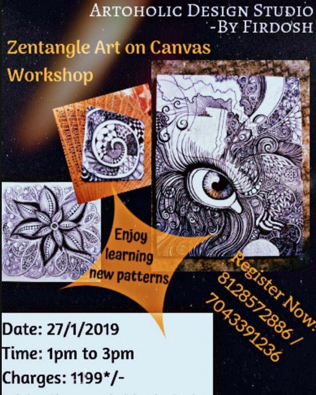Zentangle Art on Canvas Workshop