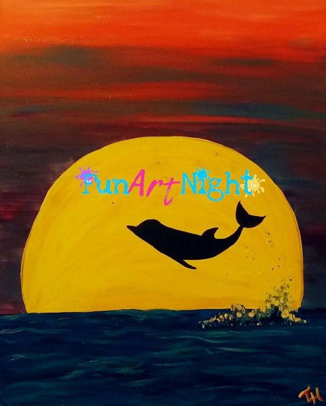 Kids Art Night Dolphin Sunset in Crozet