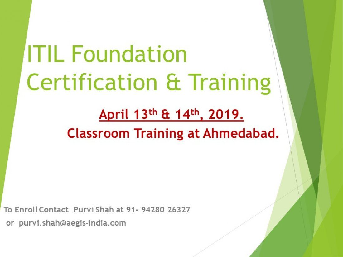 Itil Foundation Certification Training At Ahmedabad Tickets
