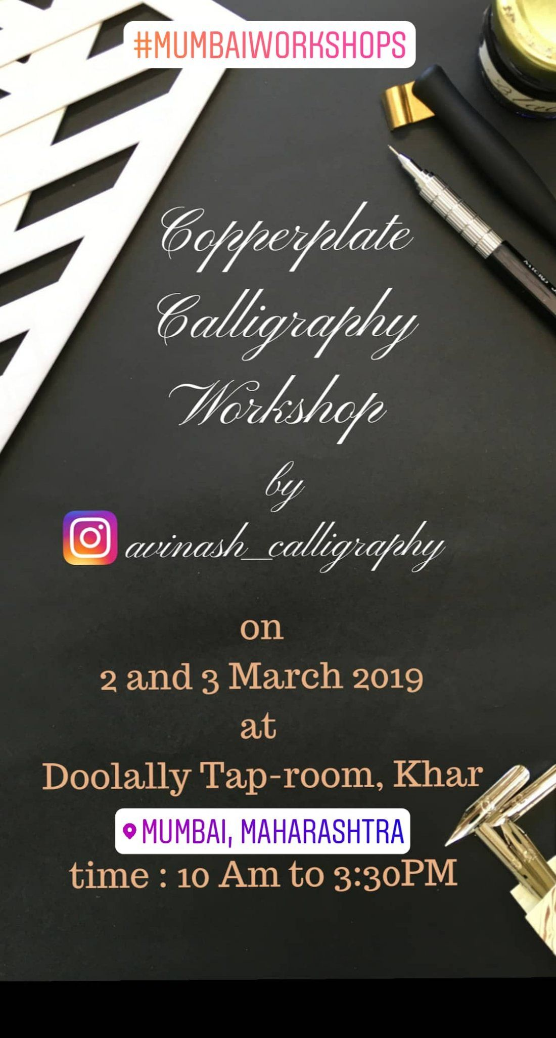 Coppeplate Calligraphy workshop Mumbai