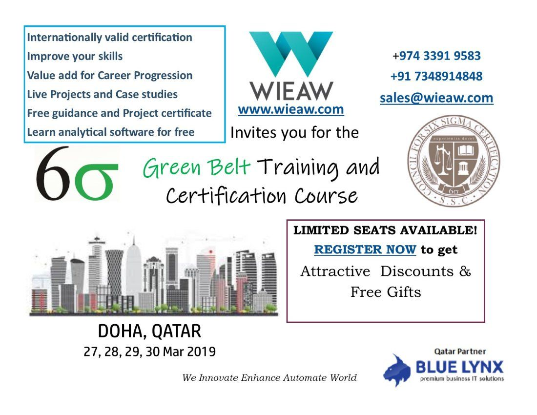 Lean Six Sigma Green Belt Certification Program By Wieaw At Qatar Doha