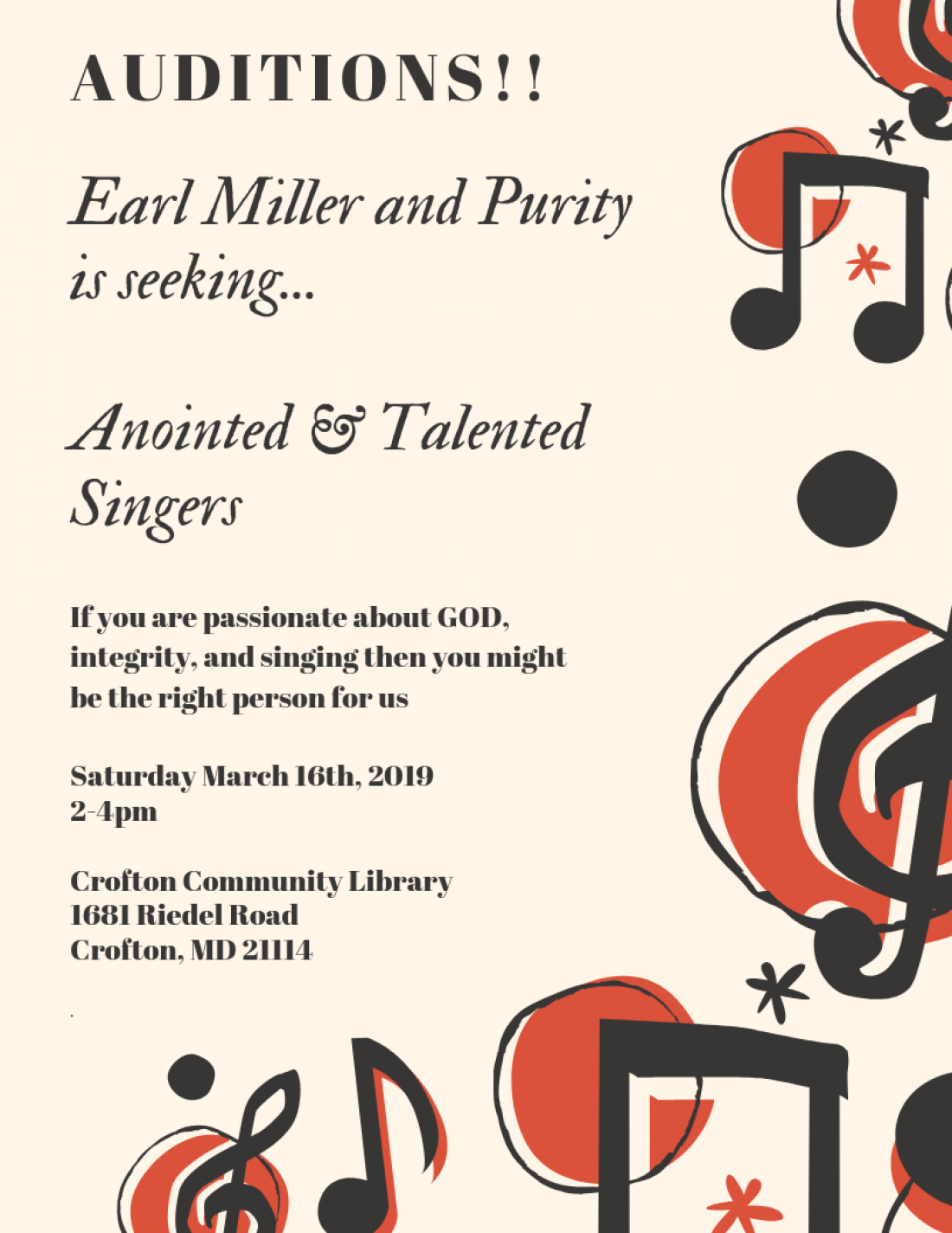 Earl Miller and Purity Auditions