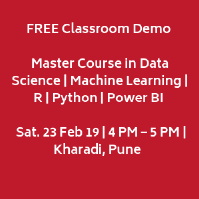 FREE Demo  Master Course in Data Science &amp Machine Learning  Sat. 23 Feb 19 4 PM  Kharadi PUNE