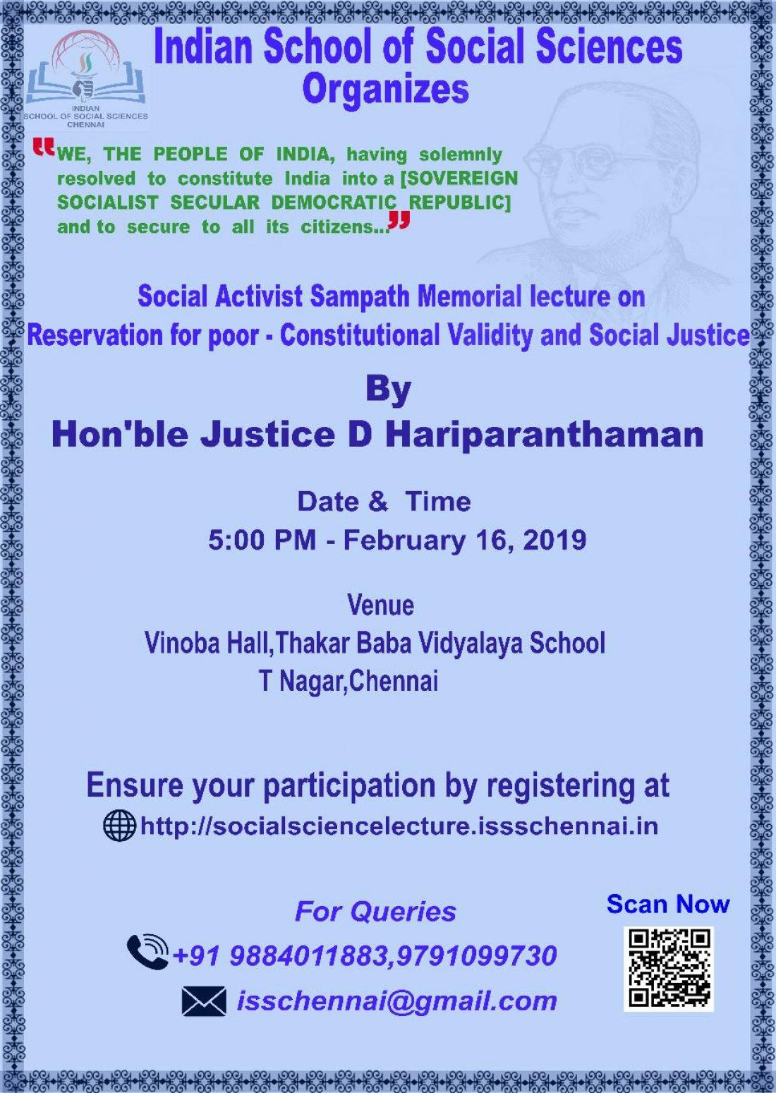 Social Activist Sampath Memorial Lecture on Reservation for the Poor